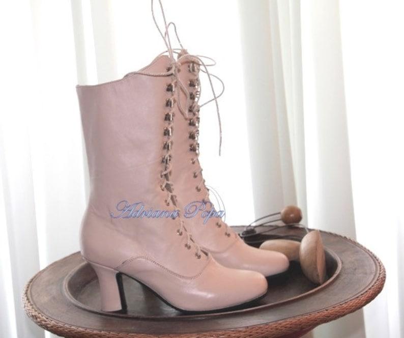 Victorian Boots Blush Pink Victorian