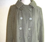 Vintage Womens Vera Maxwell Wool Coat 1950s 1960s Green Double Breasted M Lined