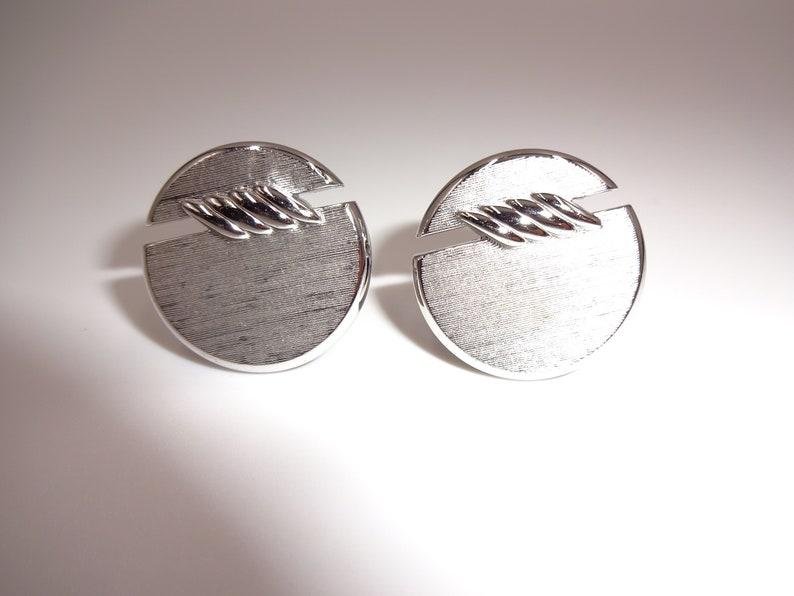 Vintage Mens Swank Cufflinks Cuff Links Round Silver Tone Marked