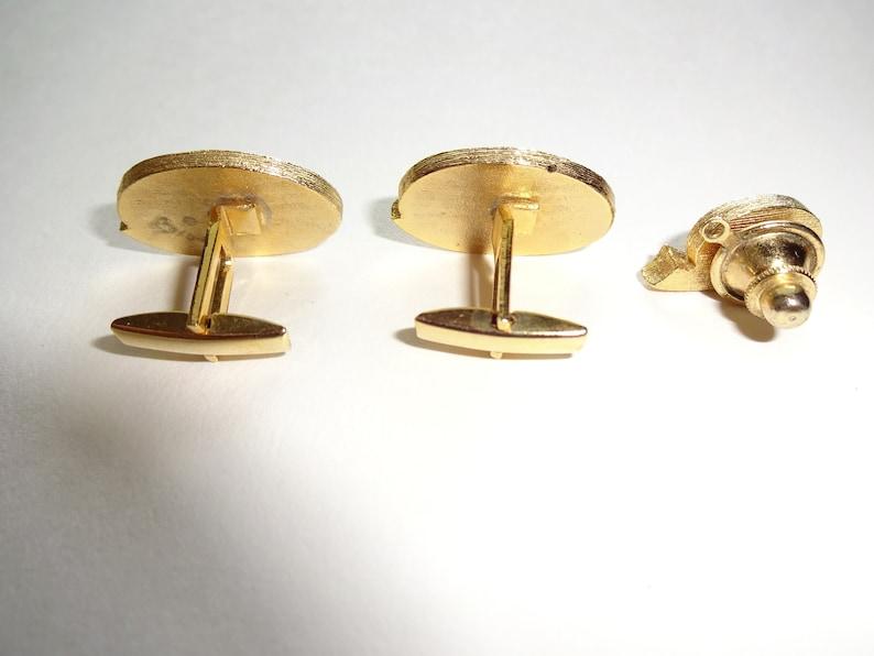 3 Pc Vintage Mens Cufflinks Cuff Links /& Tie Pin Gold Tone Brown Unmarked Set