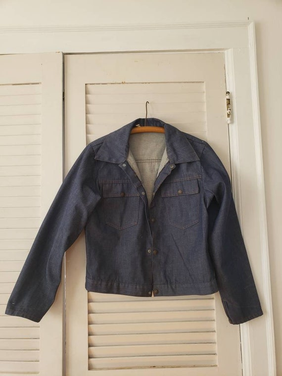 50s 60s dark denim snap up work jacket