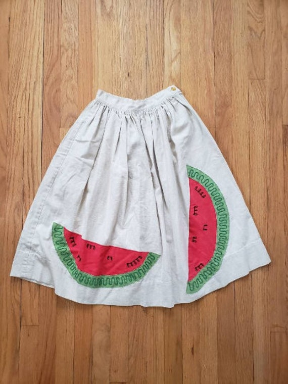 50s watermelon linen skirt sz XS