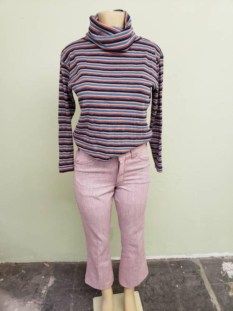 70s striped knit turtleneck sz small