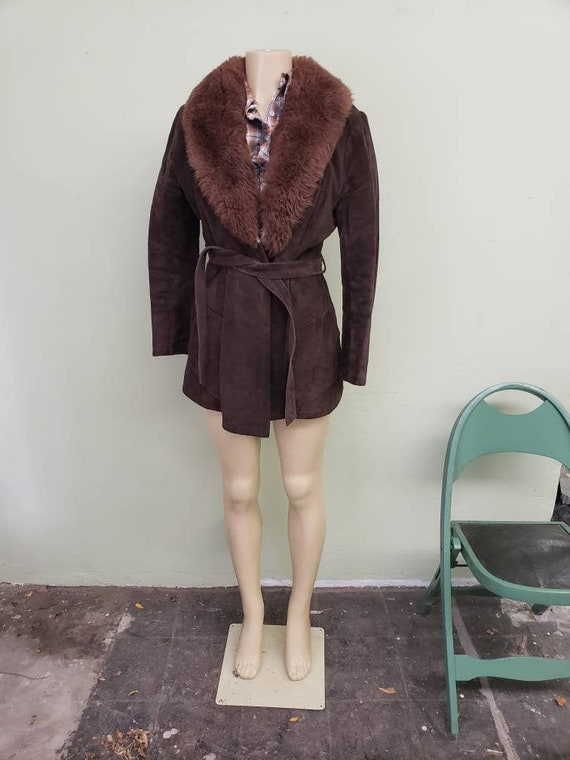 1970s suede jacket with sherpa lining and faux fur