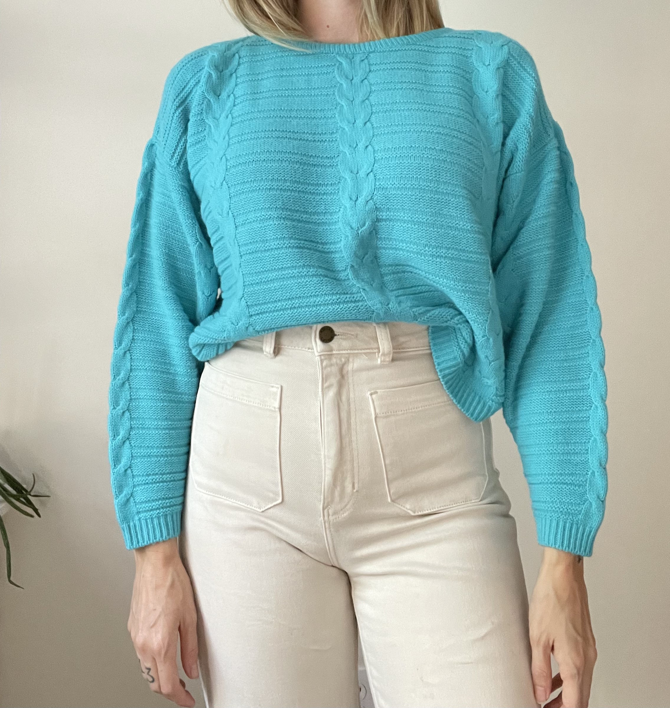 80s Sweatshirts, Sweaters, Vests | Women 1980S Turquoise Cropped Dorman Sleeve Sweater Size Small Medium $38.00 AT vintagedancer.com