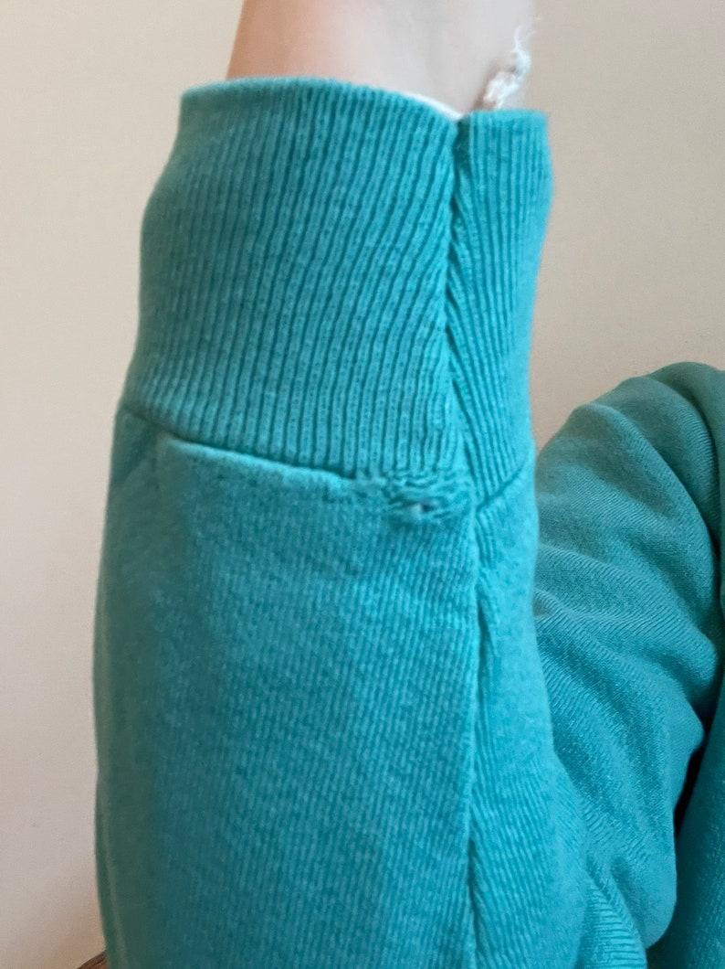 1990s soft pastel turquoise Hanes blank crew neck