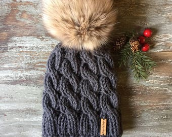 Knitted Cable Hat - WOMEN S Chunky Knitted Cable Hat With LARGE Faux Fur  Pom Pom - Chunky Knitted Hat - Hand Knitted Cable Hats -Faux fur 05c1bfff484