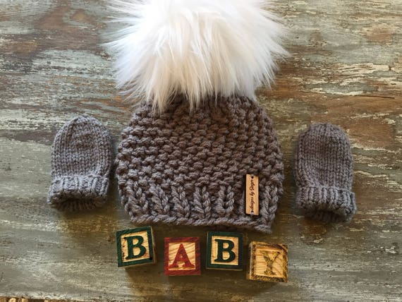 2 Piece Hand Knitted Baby Hat and Mittens Knitted Baby Hat  7e8724774ea