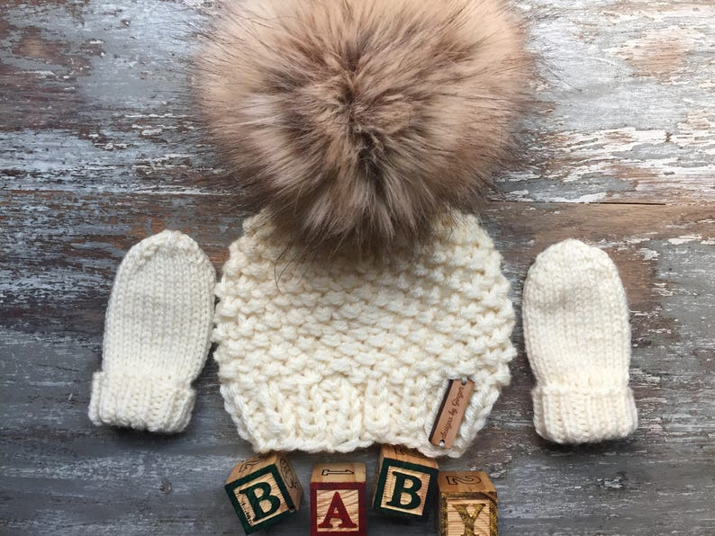 837b1752331 2 Piece Hand Knitted Baby Hat and Mittens Knitted Baby Hat