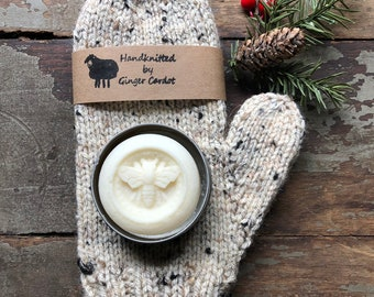 Knitted Mittens and Solid Lotion Bar 2 piece set ~Classic Knitted Mittens GIFT SET - Hand Knitted Mittens - WOMEN'S Knitted Mittens