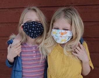 Children's Face Mask with Adjustable Ear Elastics | Cotton | Linen | No-Fog