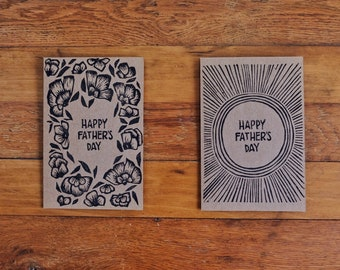 Handmade Linocut Father's Day Cards