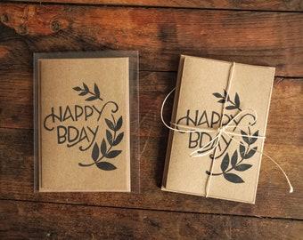 Hand Printed Blank Birthday Cards | Simple Nature Design on Kraft Paper