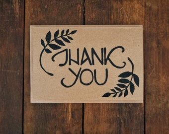 Block Printed Thank You Card, Blank Inside, Nature Inspired