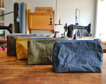 Waxed Canvas Dopp Kit, Clutch Pouch