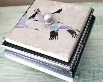 Cranes Trinket Box, Jewelry, Cranes In Flight, Nature Lovers,  Bird Lovers Box, Decoupage Keepsake Box