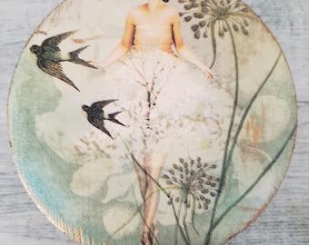 Ballerina with Birds Wooden Trinket Box, Round Jewelry Box , Upcycled Wooden Box, Decoupage Keepsake Box
