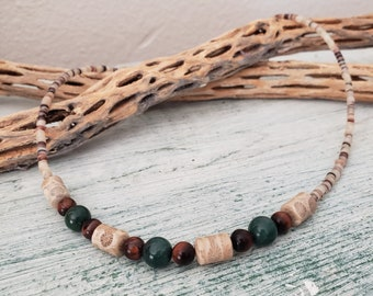 Fossil Coral Bead Necklace, Hand Crafted Necklace, Southwest Necklace, Heishi Necklace