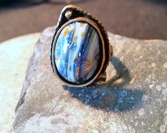 Ocean Sparkly Glass Ring, Handcrafted, Wabi Sabi , Antique Bronze Ring
