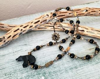 Black Bear Necklace, Hand Crafted Necklace, Southwest Necklace, Jasper, Black Onyx