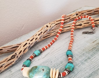 Southwest Style Boho Turquoise Necklace, Vintage Turquoise Bead Necklace, Handcrafted Jewelry,