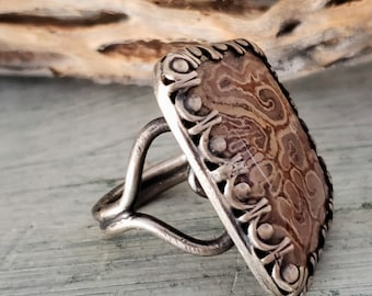 Fossil Fern Ring, Petrified TiaTia Fern, Unique Fossil Statement Ring, Artisan Crafted, Large Stone Ring, Nature Jewelry