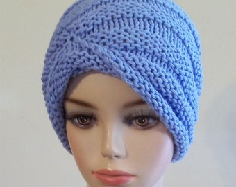 49196d52083 Knit Turban Hat Cotton Women Blue