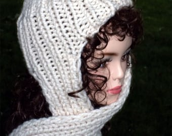 317002e22af21 Hand Knit Hat With Attached Scarf Women