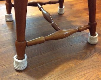 Chair Socks - Crochet Chair Leg Cozy - Floor Protector Covers - Chair Leg Glides - Set of Four - Choose Your Color