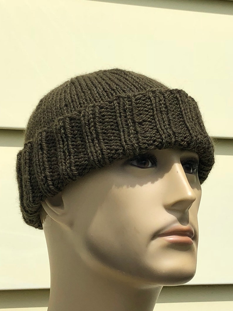 cd8a0e6ef8a XL Mens Hat Hand Knit 100% Wool Watchman s Hat