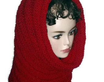 Cowl Oversized Knit Red