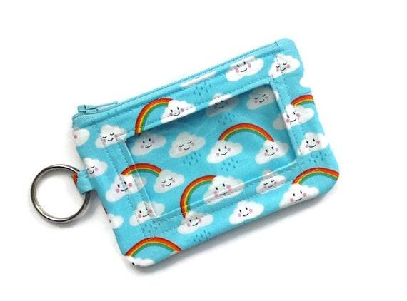 Nuages Rainbows n Id petit porte monnaie - porte carte de crédit - Id porte portefeuille - sac à main porte-clé de la pièce - clé chaîne pochette - portefeuille porte-clé Id