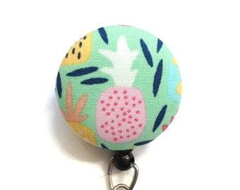 Pineapple Badge Reel - Retractable Badge Holder Nurse - Id Badge Clip - Name Badge Holder - Swivel Clip - Flower Badge Reel - Teacher Gift