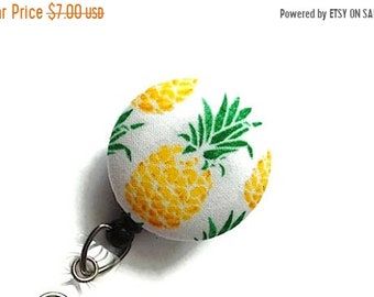 SALE Retractable Badge Reel - Badge Holder Nurse - Pineapple Badge Reel -Id Badge Clip - Name Badge Holder - Flower Badge Reel - Teacher Gif