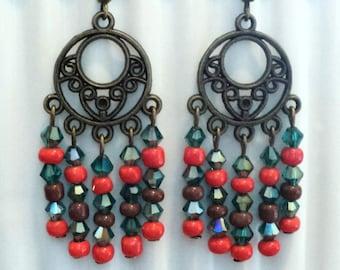 Southwest Boho Chandelier Earrings, Crystal Boho Earrings, Beaded Earrings, Gypsy Chandelier Earrings, Gypsy Jewelry - Arizona Desert