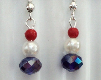 Red White and Blue Fourth Of July Earrings, Patriotic Earrings, Holiday Earrings, Traditional Earrings, Patriotic Jewelry