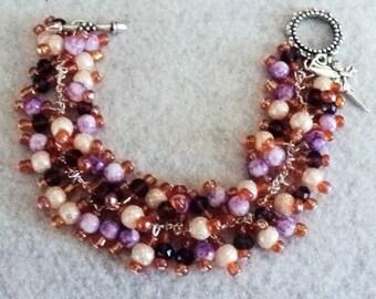 Fairy Charm Bracelet, Cha Cha Bracelet, BoHo Jewelry, BoHo Bracelet, Bohemian Bracelet, Purple and Peach, Bohemian Jewelry - Fairy Garden