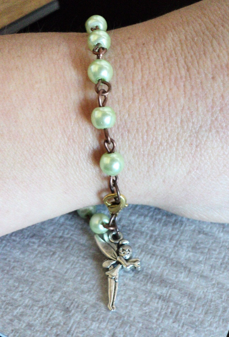 Spring Charm Bracelet Beaded Charm Bracelet Pale Green and Copper Gift For Her Glass Pearl Charm Bracelet Garden Fairy Charm Bracelet