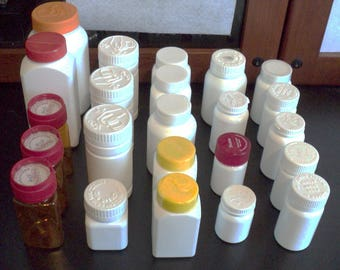 Pill Bottles, Multiple Sizes, White and Amber, Recycled, Storage, Storage Containers, Containers, Craft Storage, Bead Containers  - 23 Count