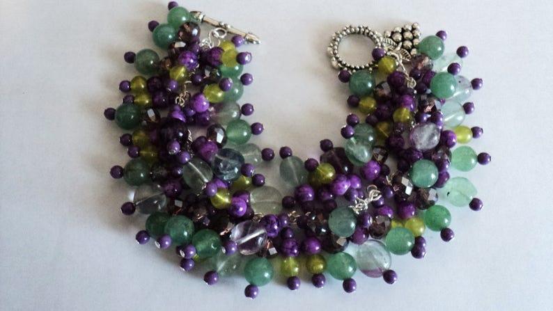 Winery Gemstone Bracelet Winery Gift Purple and Green Chunky Bracelet Green Jade Gemstone Charm Bracelet Napa Valley Vineyards