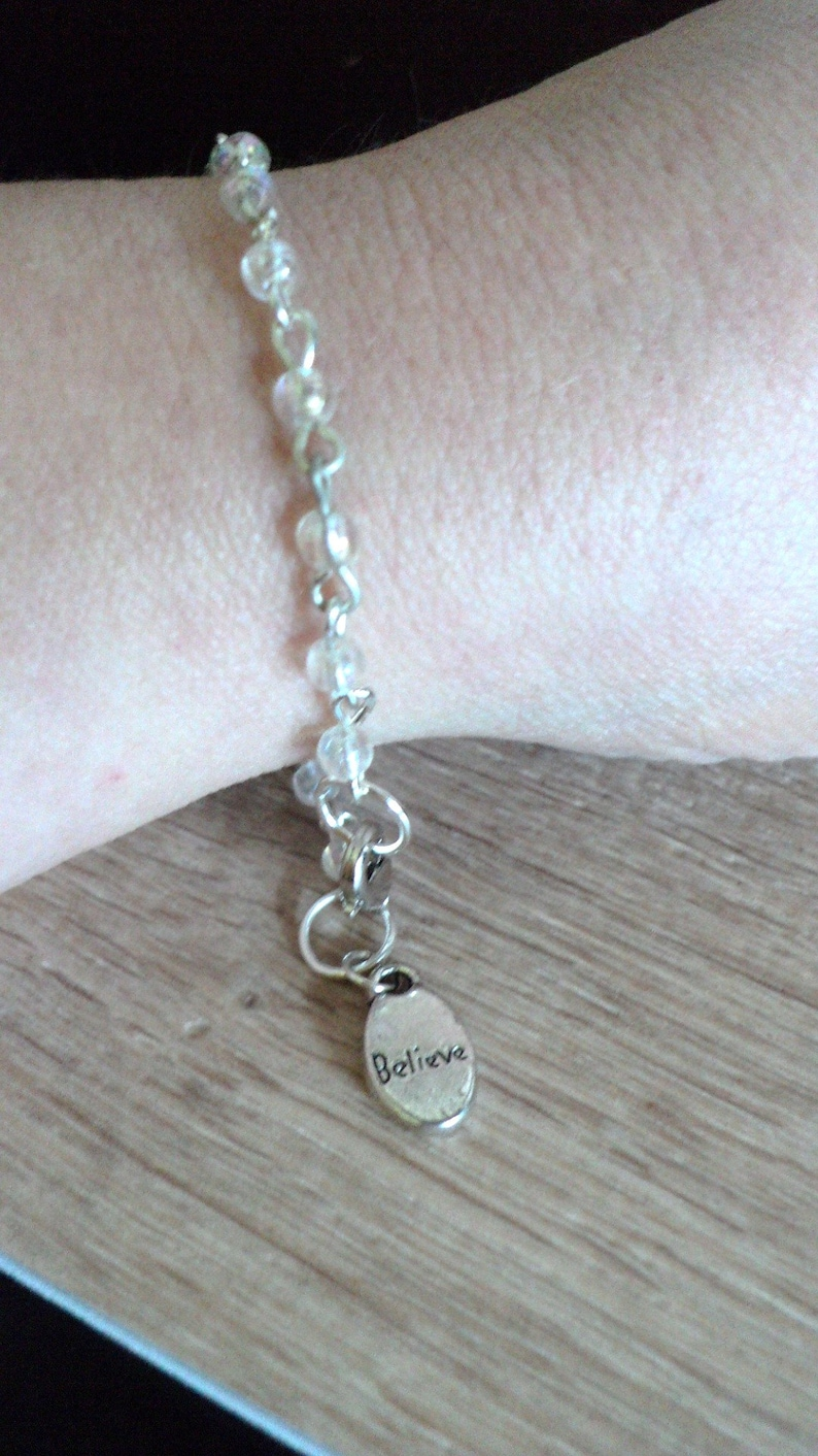 Inspirational Jewelry Believe Charm Bracelet Inspirational Bracelet Beaded Charm Bracelet Clear Opal and Silver Words Of Inspiration