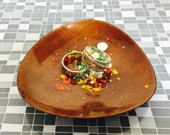 Vintage Brown Enamel Copper Galaxy Dish jewelry dish ring dish Mid Century trinket bowl collectible