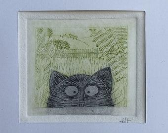Black cat etching print