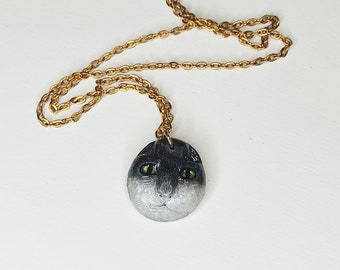 Tuxedo cat pendant, cat necklace