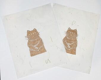 gold cat lino cut print