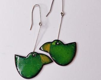 Enamel earrings, green bird earrings