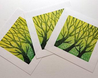 Tree shadows, lino cut print