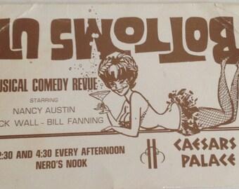 Vintage Las Vegas Ad Card Caesars Palace 1960s Bottoms Up Musical Comedy Revue Nancy Austin Breck Wall Bill Fanning Nevada
