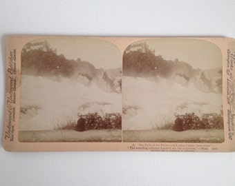 Stereoview Card Antique Photo 1897 Switzerland Falls of the Rhine and Laufen Castle Vintage Photograph Underwood