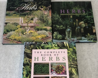 Herb Books Lot of 3 Herbs Cookbook Recipes Country Home Garden Cook Book Hardcover Plant Identification Gardening Summer Food Easy Recipe